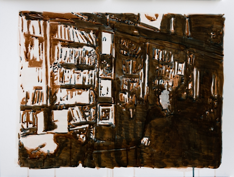 In the shadows of books (Houdini) (70x85cm (framed), ink on paper)