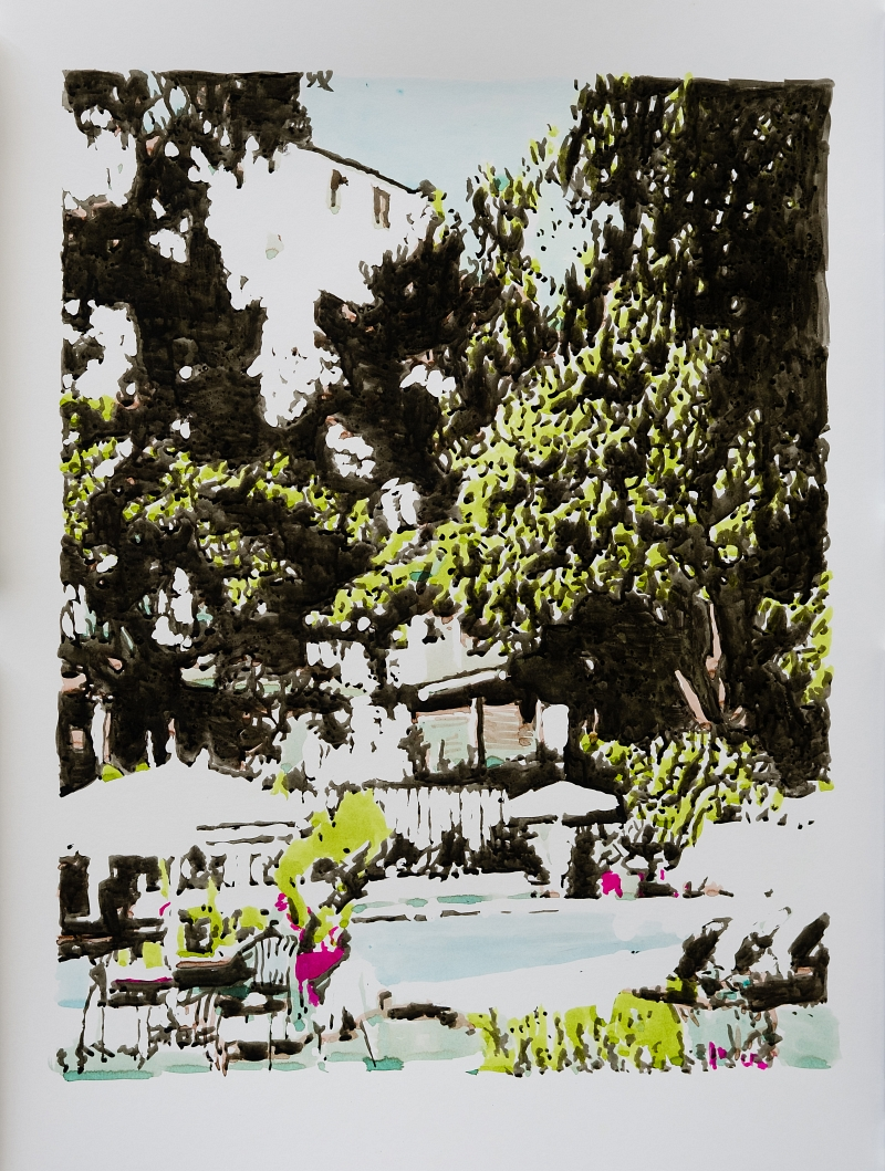Chateau Marmont (View from the pool) (70x85cm (framed), ink on paper)