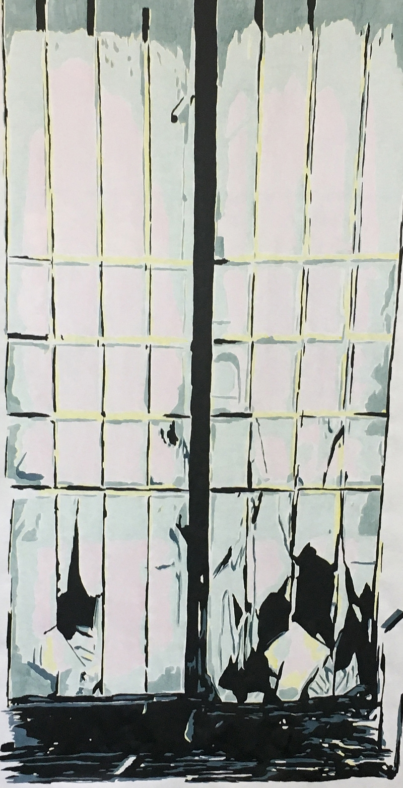 Mirror (ink on paper on canvas, 185x97cm)
